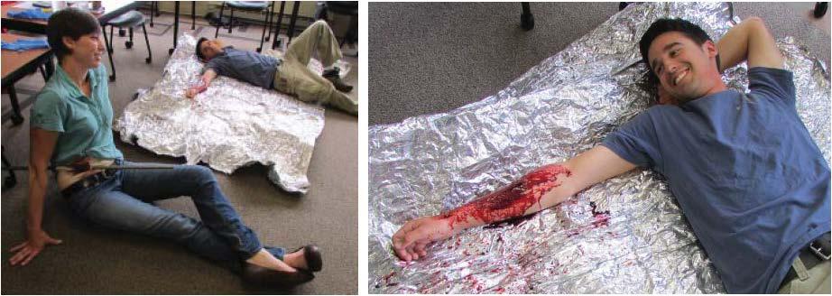 Ward Mcdonald And Megan Higgins Portray Accident Victims In A